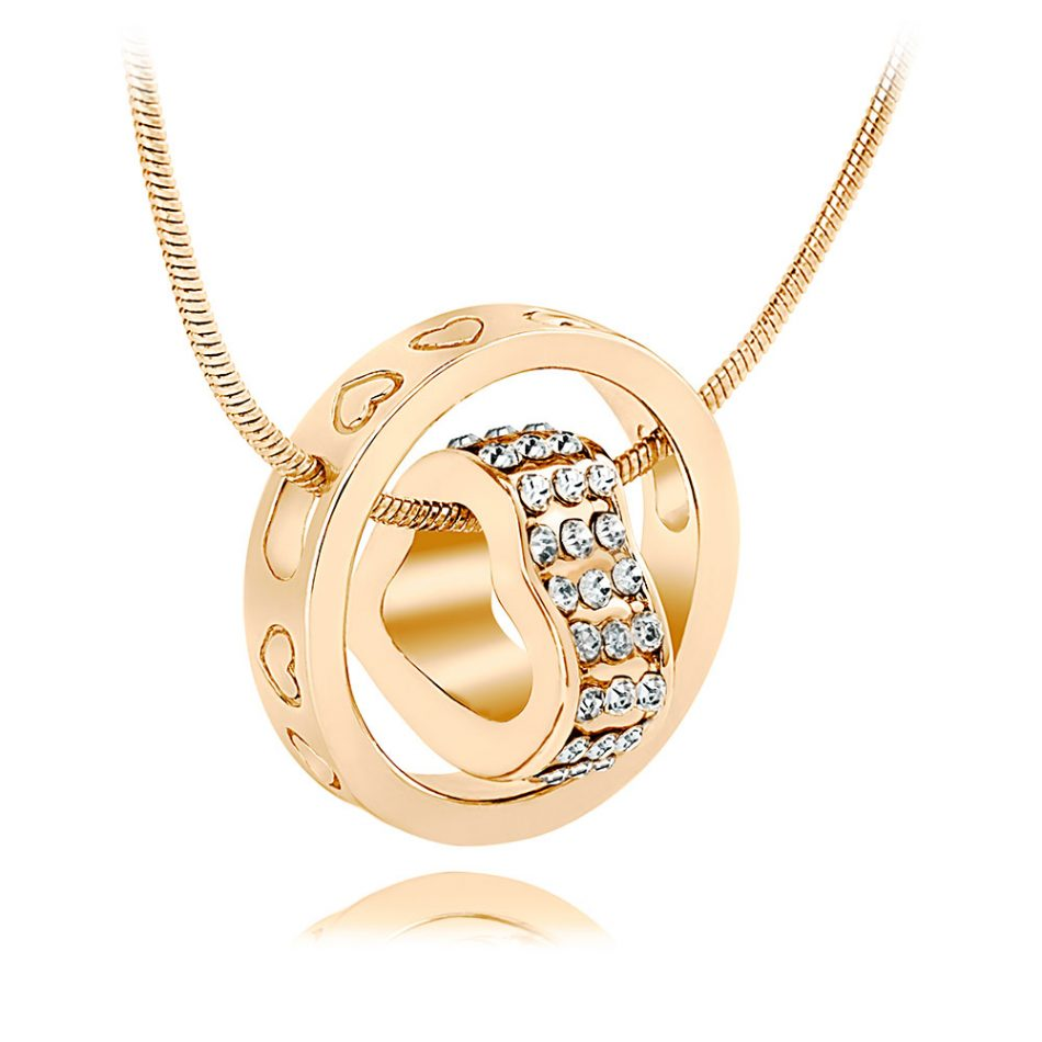 Crystal Heart  &  18K Gold Plated Ring Pendant Made with SWAROVSKI® ELEMENTS