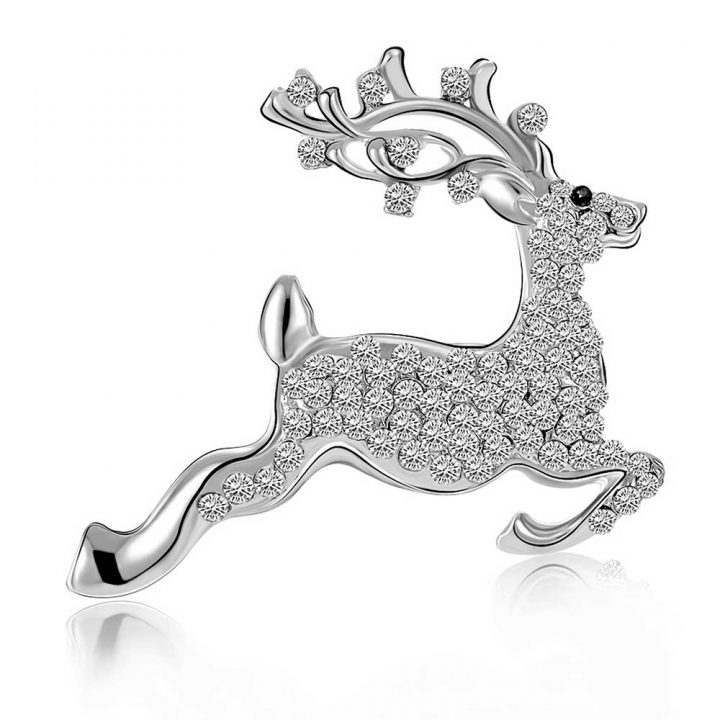 Reindeer Brooch made with Crystals from Swarovski 18k White Gold Plated