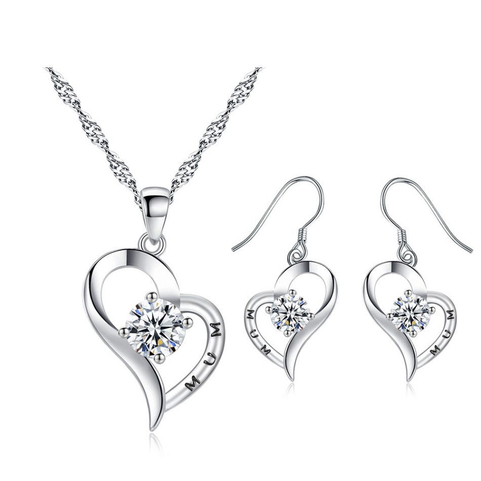 Heart Shaped Crystal & 18K White Gold Plating Set for Mum made with Crystals from Swarovski