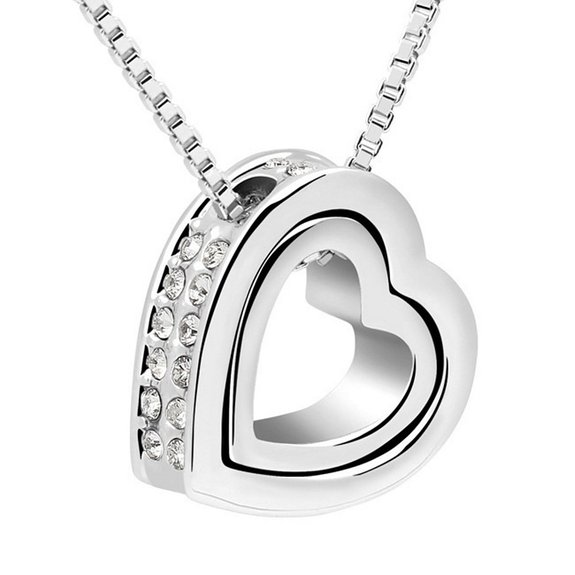 crystal elements p heart made necklace elementsclear with pendant from swarovski crystals double