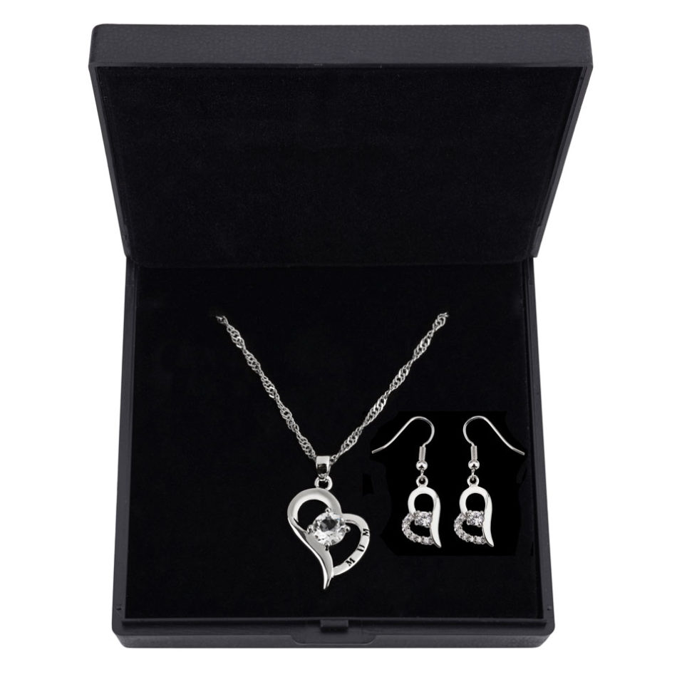 Heart Shaped Crystal & 18K White Gold Plating Set for Mum MADE WITH SWAROVSKI® ELEMENTS.