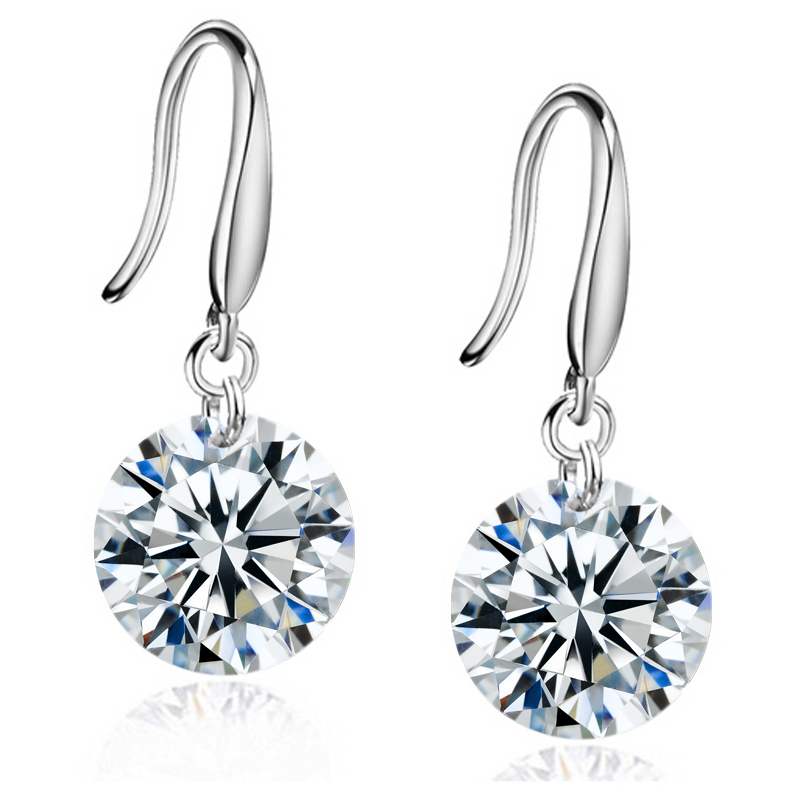 Silver Plated 8mm Drop Earrings Made With Crystals From Swarovski