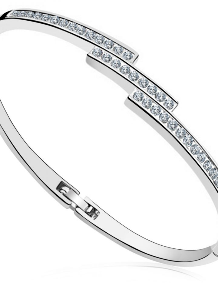 18k White gold Plated Staggered Slim Line Bangle MADE WITH SWAROVSKI® ELEMENTS