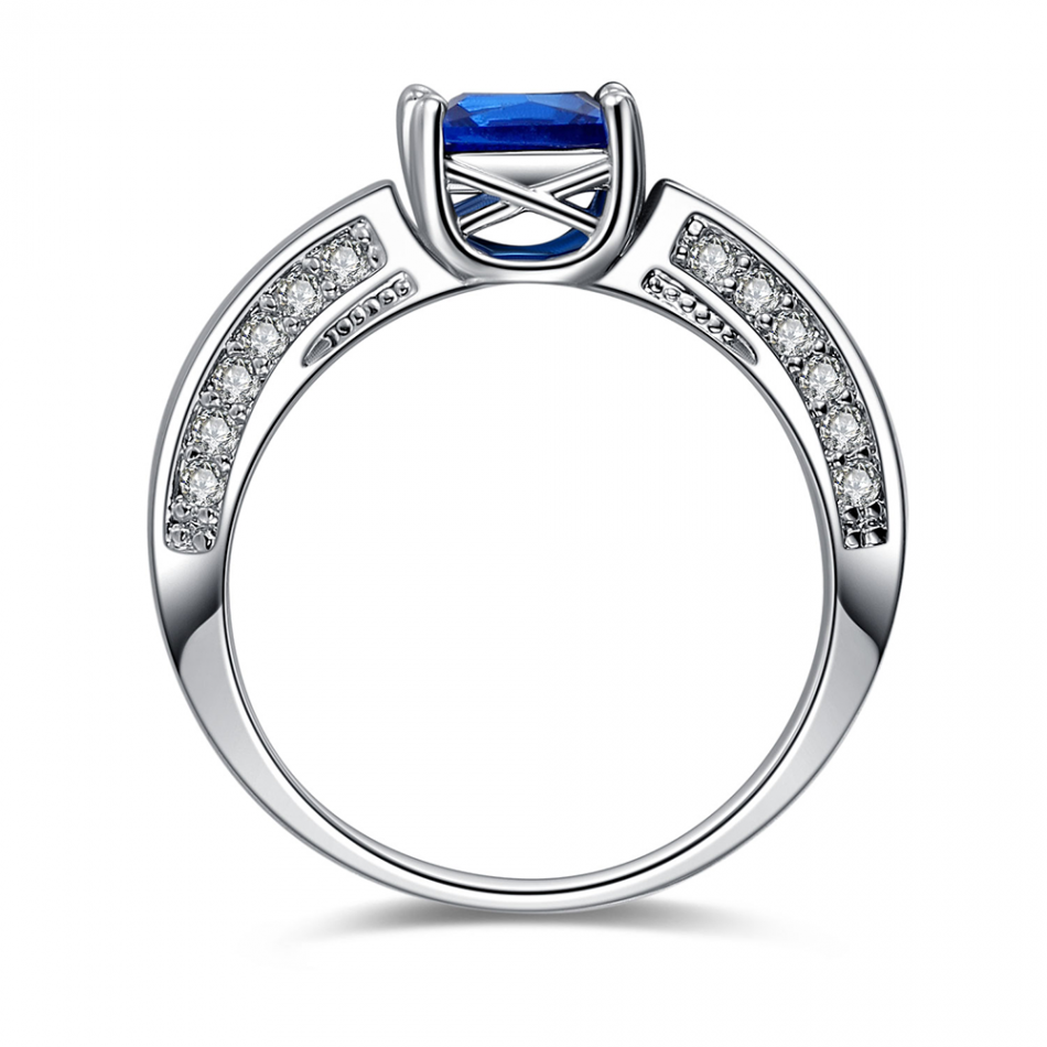 2.5 Carat Blue Sapphire Princess Cut 10K White Gold Ring