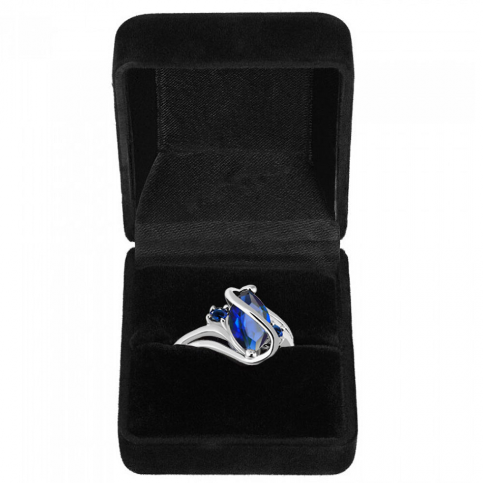 2.5 Carat Marquis Cut Blue Sapphire 10K White Gold Filled Ring