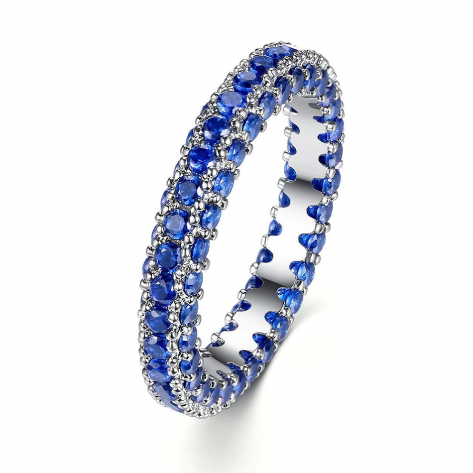 3.00CT Blue Created Sapphire 10K White Gold Filled Eternity Band