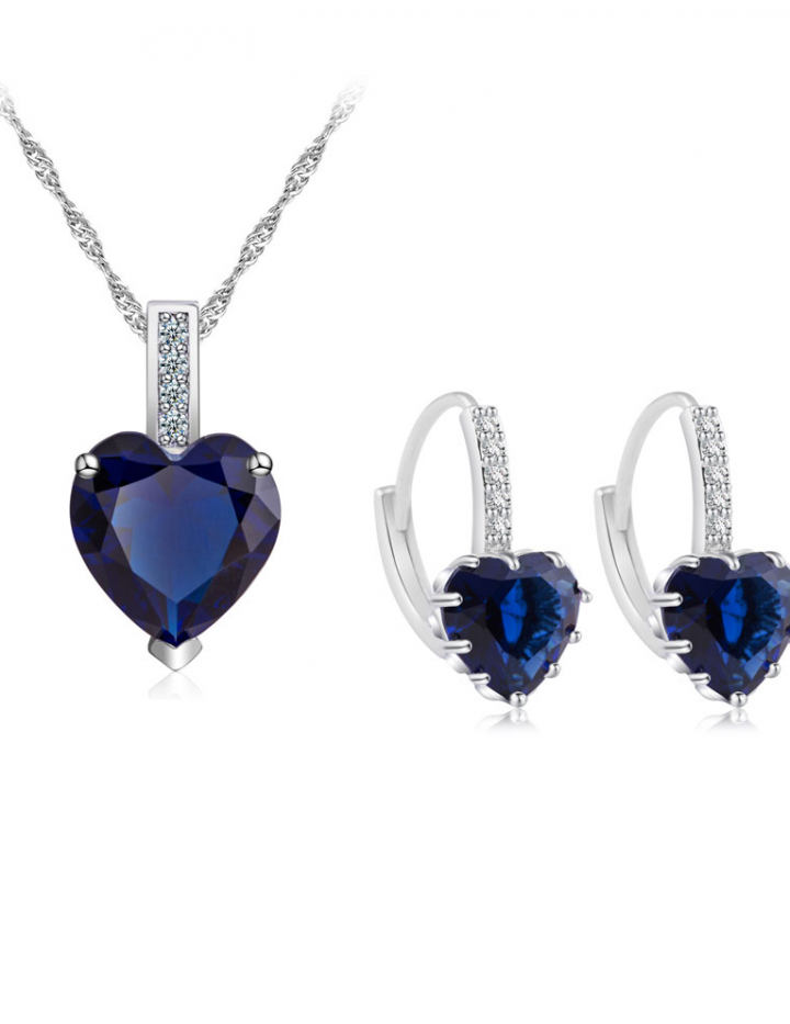 7.5 Carat Heart Cut Blue Sapphire 10K White Gold Filled Earring & Pendant Set