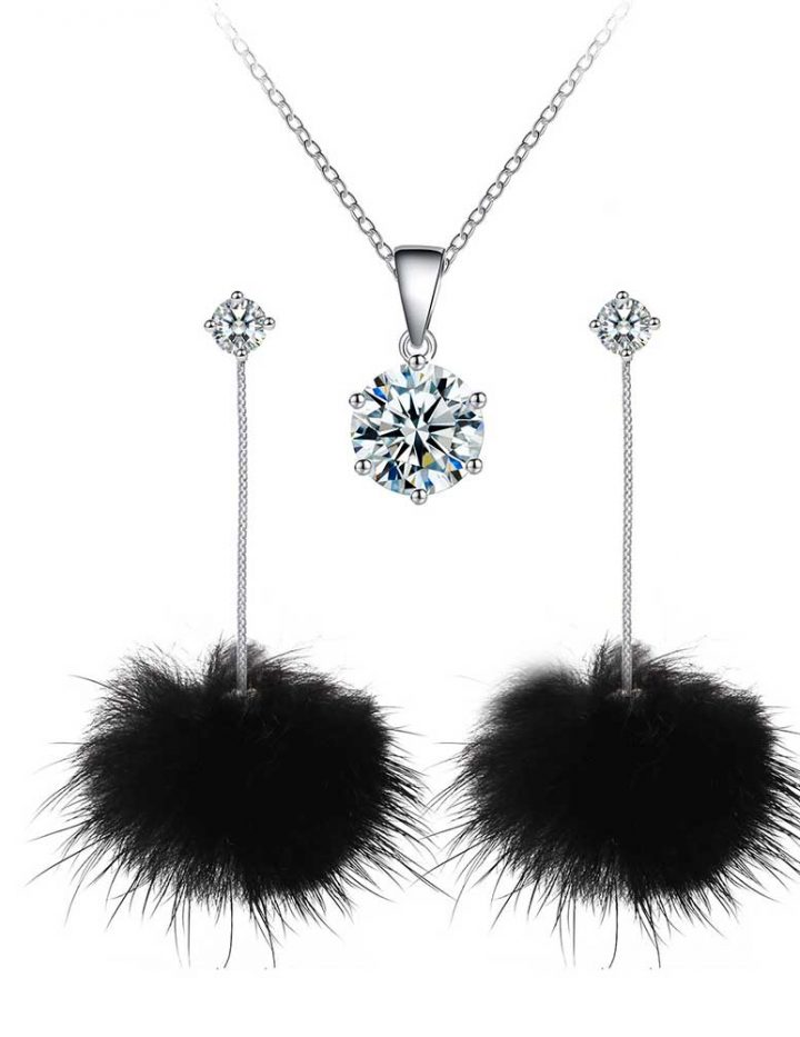 black pom pom earrings solitaire pendant set with crystals from swarovski