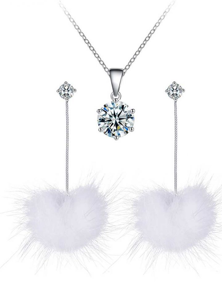 white pom pom earrings solitaire pendant set with crystals from swarovski