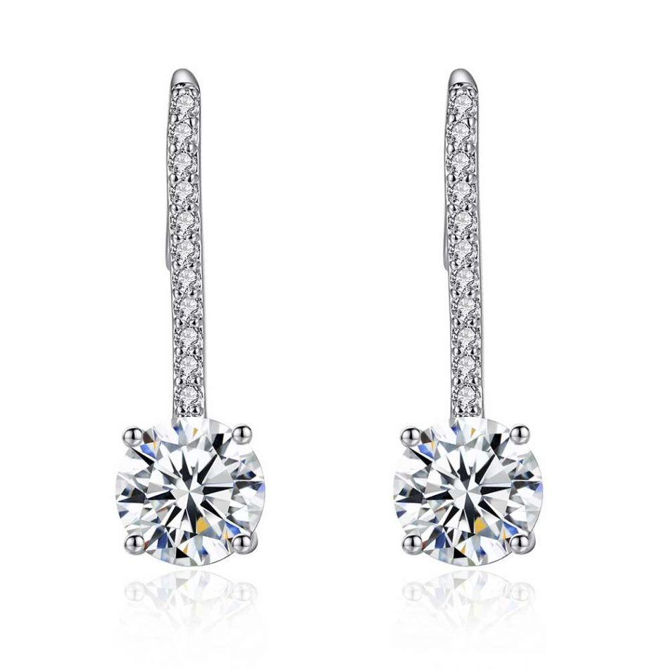 3 CARAT SAPPHIRE CLEAR DROP 10K WHITE GOLD FILLED EARRINGS