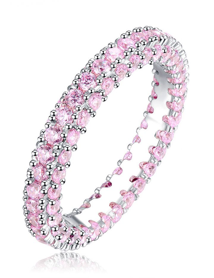 3.00CT PINK CREATED SAPPHIRE 10K WHITE GOLD FILLED ETERNITY BAND