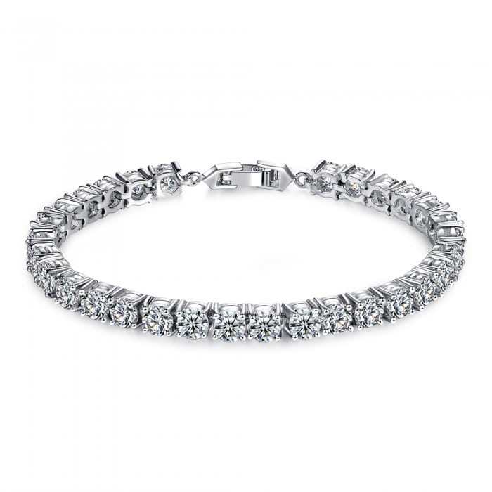 7CT BRILLIANT CUT CREATED SAPPHIRE 10K WHITE GOLD FILLED TENNIS BRACELET