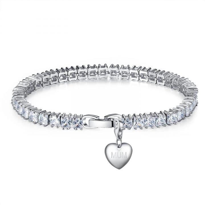 Rhodium Plated, Heart Charm Tennis Bracelet