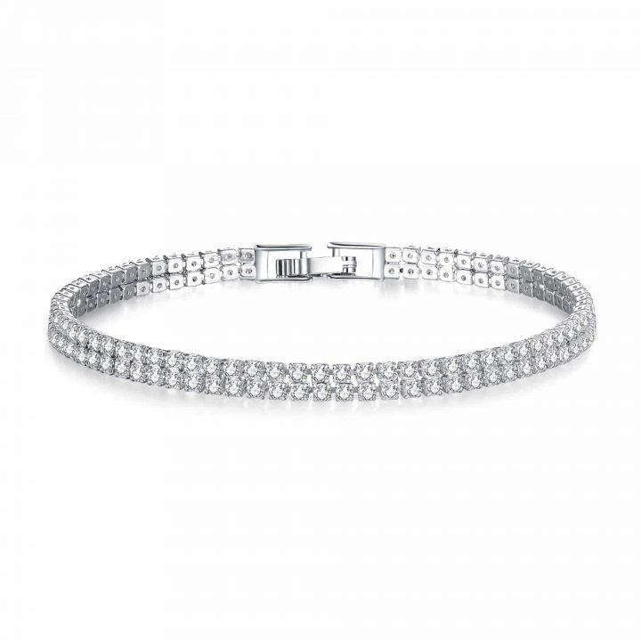 a double row clear cut simulated sapphire bracelet, silver toned and made from Rhodium Plated Jewellers Brass