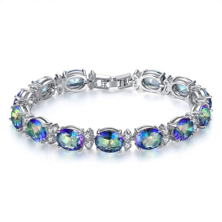 multitoned amethyst bracelet featuring over 40 blue and green toned stones on a silver toned rhodium plated bracelet with a small flat clasp