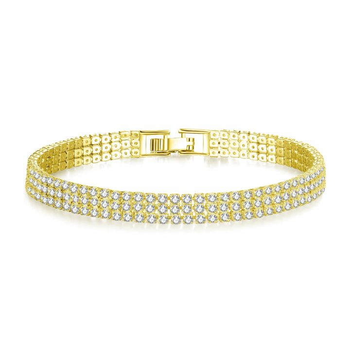 Yellow Gold Plated bracelet featuring over 220 clear cut simulated sapphires finished with an elegant flat clasp fastening