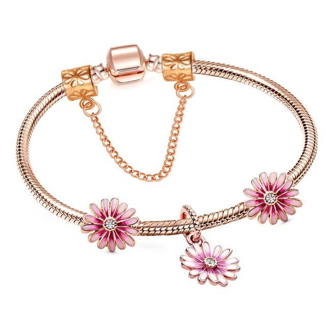 Rose Gold and Pink Flower Charm Bracelet