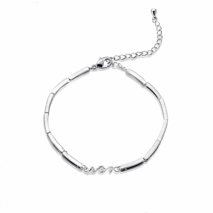white gold diamond bracelet featuring individual links and a spiral accent decorated with 3 natural diamond stones on an adjustable clasp.
