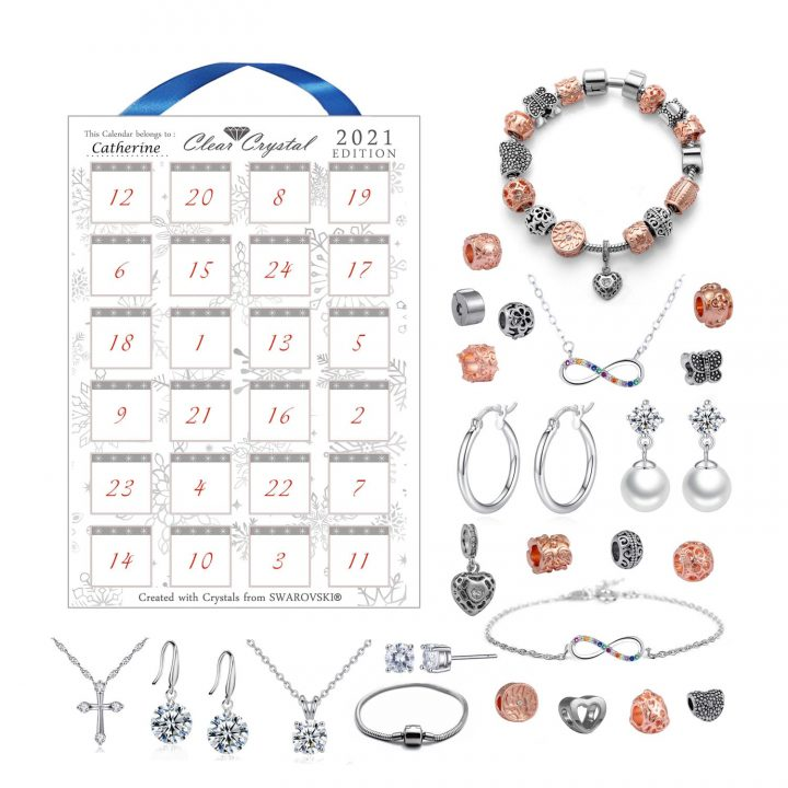 Swarovski® Advent Calendar featuring a range of jewellery pieces and a charm bracelet which is built throughout the Christmas countdown