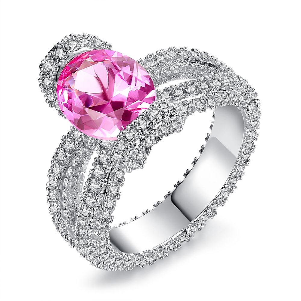 Oval cut simulated pink spinel ring with rhodium plating