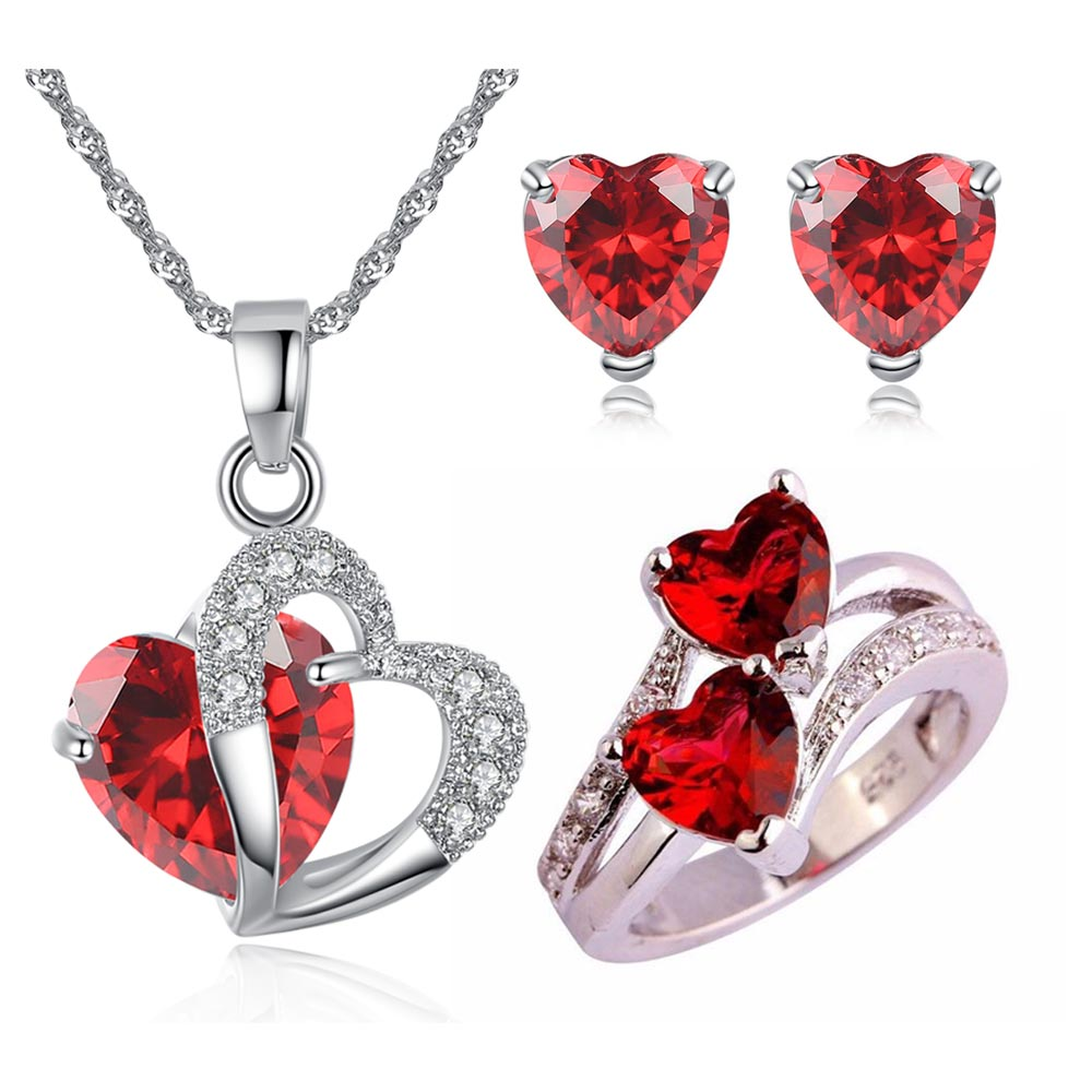 Ruby Red Heart CZ Crystal Set