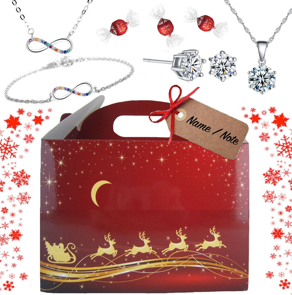 CHRISTMAS LUXURY BOX WITH FINE CRYSTAL GIFTS & LINDT CHOCOLATES